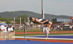 SUBMITTED PHOTO: SETH GORDON - Canby senior Ian Oakes qualified for state in the high jump and finished second at the Three Rivers League district meet.