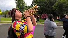 A FGHS student played a coronet in the march.