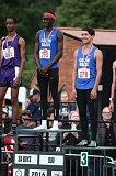 PAMPLIN MEDIA GROUP: JIM BESEDA - The Class 3A boys 800 champion, Juma Sei (center) of repeat team winner Catlin Gabel shares the podium with others, including teammate Lucas White Moon (right), who was third.