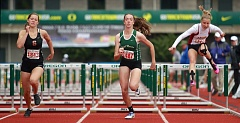 INDEPENDENT PHOTO: PHIL HAWKINS - Emily Scanlan of North Marion High School heads for the finish line at the end of the Class 4A girls 100 meter hurdles at the state track meet at Hayward Field in Eugene.