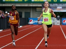 TIMES PHOTO: JONATHAN HOUSE - Jesuit's Lena Colson runs to fourth place in the girls 200-meter dash at the Class 6A state track and field meet at Hayward Field in Eugene on Saturday.