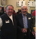 TRIBUNE PHOTO: KERRY EGGERS - Two major figures in local tennis, Brian Parrott (left) and Harry Merlo, chat during the Celebration of the History of Tennis in Oregon at the Irvington Club.