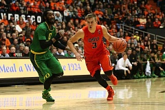 TRIBUNE PHOTO: DAVID BLAIR - Tres Tinkle (right) is one of the key returning players for Oregon State coach Wayne Tinkle, who expects to have a new contract agreed to soon with university officials.