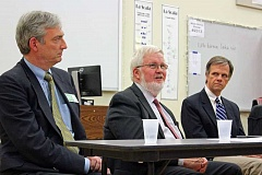REVIEW PHOTO: JILLIAN DALEY - Lake Oswego City Councilor and Oregon treasurer candidate Jeff Gudman, state Sen. Mark Hass and state Sen. Richard Devlin gathered together last week for a forum on the rising cost of college at Lake Oswego High School.