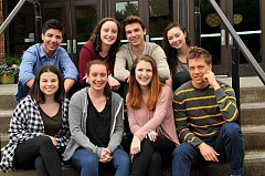 REVIEW PHOTO: VERN UYETAKE - The eight Riverdale High School Top Scholars are (from left): front row, Shayna Pauleen, Alison Scarlett, Sarah Gordon and Noah Jacobson; back row, Cole Bemis, Sarah Millender (salutatorian), Brian Gentry (valedictorian) and Cynthia Abrams.