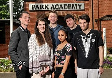 REVIEW PHOTO: VERN UYETAKE - Park Academy's six graduates are (from left): Manny Davis, Gabby Downey, Jacob Kraus, Iris Ortiz, Edward Bedor and Kaleb Lewis.