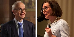 TRIBUNE PHOTO - Gov. Kate Brown has declined to debate GOP challenger Bud Pierce during the July Oregon Newspaper Publishers Association gathering. The debate is a tradition during gubernatorial campaigns.