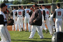 JIM BESEDA/MOLALLA PIONEER - Molalla coach Todd Potter was all smiles after the Indians downed Gladstone 3-1 in the final regular-season home game at Geddes Field.