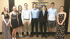 SUBMITTED PHOTO - Some of the Canby Rotary Foundation's scholarship recipients are (from left) Miranda Gibson, Hevelin Vera Morales, Ryan Bigej, Kayla Davis, Mathew Riegg, Natasha Troxler, Ian Oakes (Canby Telcom recipient), Virginia Link and Alexandria Cavender.