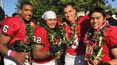 COURTESY PHOTO - Pacific football players Shahin Marzband (6), Greg Alip (32) and Nathan Suyematsu (13) celebrate some Hawaiian Island heritage after a game.