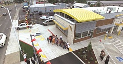 HERALD PHOTO: TONY GONZALEZ - View of above the ribbing cutting from a drone during the ceremony at the rebuilt Canby McDonald's restaurant.