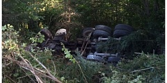 COURTESY PHOTO: WCSO - A 51-year-old Molalla man died Thursday, July 21, when the cement truck he was driving tumbled down a 20-foot embankment on Southwest Laurelwood Road.