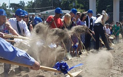 OUTLOOK PHOTO - Many people participated in the groundbreaking ceremony for the new Rockwood Boys & Girls Club that will be completed in one year.
