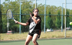 PHIL HAWKINS - Woodburn's Brianna Morales fell to Philomaths Gabi Beckstead in the championship match of the womens bracket in the 2016 Woodburn Open Tennis Tournament on Sunday.