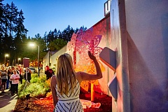 PHOTO: CHASE ALLGOOD - Color changing lights illuinate the newest piece of art at Shute Park in Hillsboro.