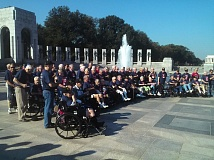 PAMPLIN MEDIA GROUP: SHANNON O. WELLS - An Honor Flight of Oregon group of World War II veterans pose for a group photo at the U.S. World War II Memorial in Washington, D.C. in September 2015. The nonprofit Honor Flight grroup is seeking veterans from the Gresham, Portland and surrounding areas for the next trip Sept. 28-Oct. 2.