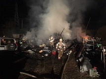 CONTRIBUTED PHOTO - Firefighters from multiple agencies responded to a fire that destroyed a barn in Eagle Creek early on the morning of Friday, Aug. 26.
