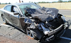 PHOTO COURTESY OF THE OREGON STATE POLICE - A 2-year-old died in this crash along Highway 20 near Tumalo on Sunday. David Fincher of Sherwood was arrested for manslaughter.