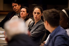 PORTLAND TRIBUNE: ADAM WICKHAM - Kristin Malone, shown interacting with the public as chair of the Citizen Review Committee of the city's Independent Police Review division, spoke out last week against a plan that would block public comment at the committee's hearings concerning appeals of police complaint outcomes.