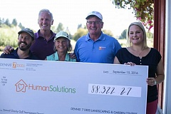 CONTRIBUTED PHOTO - Human Solutions Executive Director Andy Miller, far left, accepts a check for more than $88,000, which was raised during the seventh-annual Dennis' 7 Dees Charity Golf Tournament held Sept. 15. With Miller were Dean Snodgrass, vice president of Dennis' 7 Dees, Terry Ciecko, board member with Human Solutions, Dave Snodgrass, president of Dennis' 7 Dees and Tournament Direction and 7 Dees' Human Resource Manager Dani Powell.