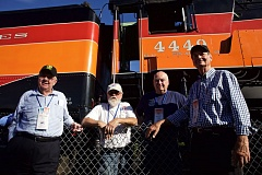 PORTLAND TRIBUNE: JAIME VALDEZ - American Freedom Train Foundation founder Ross Rowland, engineer Al Phillips, locomotive expert Doyle McCormick and mechanic Wes Camp stand in front of the Southern Pacific 4449 on the tracks near Oaks Park.