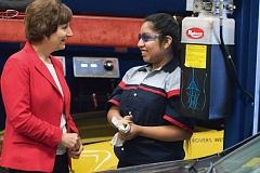 TIMES PHOTO BY JONATHAN HOUSE - U.S. Rep. Suzanne Bonamici talks with Aloha auto technologies student Estefany Dominguez during a tour this week.
