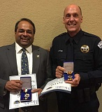 SUBMITTED PHOTO - LOFD Medical Director Ritu Sahni (left) and LOPD Chief Don Johnson were honored last week at the Oregon EMS Conference in Bend.