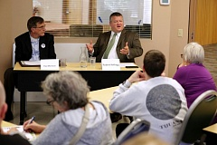 TIMES PHOTO: JONATHAN HOUSE - Tualatin City Council candidates Paul Morrison, left, and Robert Kellogg talk about the issues during a forum at the Juanita Pohl Center Tuesday afternoon.