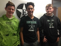 ESTACADA NEWS PHOTO: EMILY LINDSTRAND - They arent eating pie now, but they will be soon. Estacada High School students Conner McNulty, Gabriel Martinez and Cole Chandler are three of the participants in the pie eating contest at the Harvest Festival on Saturday, Oct. 29.