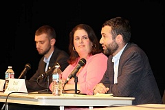 PAMPLIN MEDIA GROUP PHOTO: PATRICK MALEE - From left, Ryan Haffner, Rep. Julie Parrish and Paul Southwick addressed a number of issues during a forum held at West Linn High School Oct. 4.