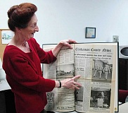 FILE PHOTO - Local historian Kathryn Hurd peruses through the 1989 Estacada News archives. Hurd, whose book Estacada was published in 2012, is working on a second book about the area, tentatively titled Estacada Sagas.