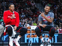 TRIBUNE PHOTO: JOHN LARIVIERE - The high-scoring backcourt of CJ McCollum (left) and Damian Lillard returns for the Trail Blazers, making Portland an up-and-coming playoff candidate in the NBA Western Conference. And Lillard's individual goal is to be the league's MVP.