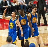 TRIBUNE FILE PHOTO: JOSH KULLA - Golden State standouts (from left) Stephen Curry, Draymond Green and Klay Thompson give the Warriors the inside track on another NBA Western Conference crown.
