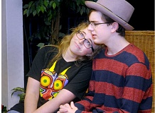 SETH GORDON - C.S. Lewis Academy junior Anna Millage and homeschool freshman Nathan Beals rehearse their roles as Cecily Cardew and Algernon Moncrief, respectively, in preparation for Friday's opening performance of 'The Importance of Being Earnest' at the CSLA Performing Arts Center.