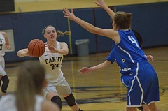 HERALD PHOTO: COREY BUCHANAN - Canby junior Cassidy Posey passes to guard Cianne Cates in the corner.
