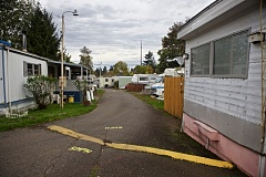TRIBUNE PHOTO: JAIME VALDEZ  - The rundown Oak Leaf Mobile Home Park in the Cully neighborhood will get a new lease on life.