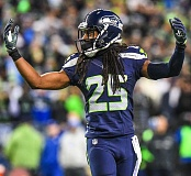 TRIBUNE PHOTO: MICHAEL WORKMAN - SEATTLE'S RICHARD SHERMAN SPEAKS FOR THE DEFENSE
