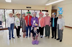 SHERWOOD GAZETTE: BARBARA SHERMAN - On Friday, April 14, all the ladies coming to the Marjorie Stewart Community/Senior Center in Sherwood were invited to wear Easter bonnets, and many of them did, including center director Thressa Caulkins. Standing from left are Eloise Hanable, Jenny Reiser, Caulkins, Pat Bodnar, Norma Hansford, Darlene King, Anne Poe, Vivian McNab and Lenora Cates; sitting in front is Norma Gronholm.