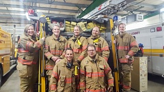 CONTRIBUTED PHOTO - Corbett Fire Department's newest recruits, starting at bottom left: Vance Rogers, Richard Weill, Joy Friedel, Tim Sherman, Kristin Loitvid, Jim Sherman and Michael Sherman.