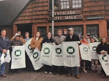 CONTRIBUTED PHOTO - Estacada Earth Day volunteers gather in front of city hall after their efforts last year. Several local opportunities for volunteering are scheduled for this Earth Day, as well.