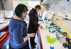TIMES PHOTO: JONATHAN HOUSE - Librarian Sarah Jesudason shows U.S. Rep. Suzanne Bonamici some of the gadgetry in Tualatin's Mobile Makerspace on Monday.