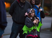 TIMES PHOTO: JONATHAN HOUSE - Bat enthusiast Adelynn Maue watches as Seth Winkelhake uses a sound monitor to see if any bats are in the area.