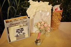 COURTESY PHOTO - This is the 'honeyfund' box on the table at the wedding of Amira and Skyler Mofford, Sept. 16, 2016