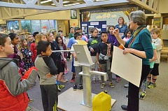SUBMITTED PHOTO: WATERAFRICA - Water Africa Co-founder Diane Savage teaches students at Bridgeport Elementary about the pumps that are installed to supply clean water in Zambia during a presentation in April 2016.