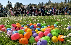 REVIEW PHOTO: VERN UYETAKE - More than 15,000 Easter eggs awaited youngsters Saturday at the seventh-annual Hop at the Hunt. The event, co-sponsored by Lake Oswego Hunt and Hope Community Church, also included pony rides, face painting, police and fire vehicles and a visit from the Easter Bunny himself.