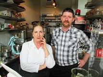 OUTLOOK PHOTO: SHANNON O. WELLS - Lisa Radcliffe, left, opened Bacari: A Petite Restaurant last week in downtown Gresham. Longtime friend Paxton Crevey serves as her assistant chef and baker.