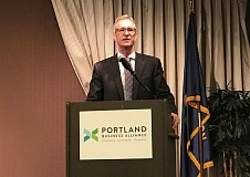 COURTESY PORTLAND BUSINESS ALLIANCE - Mayor Ted Wheeler announced Portland's self-driving vehicle initiaitve at the Portland Business Alliance's April breakfast forum.