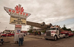 2014 PHOTO BY: JOSH KULLA - The Bomber restaurant in Milwaukie draws its name from the Lacey Lady, a B-17 that lived at this spot along busy Highway 99E from 1947 to 2014, when it went to Aurora State Airport for restoration.