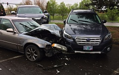 PHOTO COURTESY OF THE WASHINGTON COUNTY SHERIFF'S OFFICE - No students were injured Tuesday afternoon when a car drove into the parking lot of Rock Creek Elementary School in Beaverton.