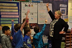 POST PHOTO: BRITTANY ALLEN - Jeri Malin substitute teaches at Firwood Elementary School two or three days a week even though she's retired.
